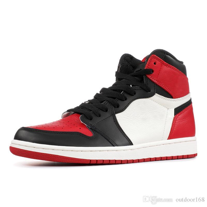 new styles c9ea7 0ad5c Acheter Marque 1 OG Hommes Chaussures De Basket Ball Bred Toe Or Or Noir  Designer Sneakers Meilleure Qualité 2019 New Shadow Chicago Hommes  Chaussures De ...