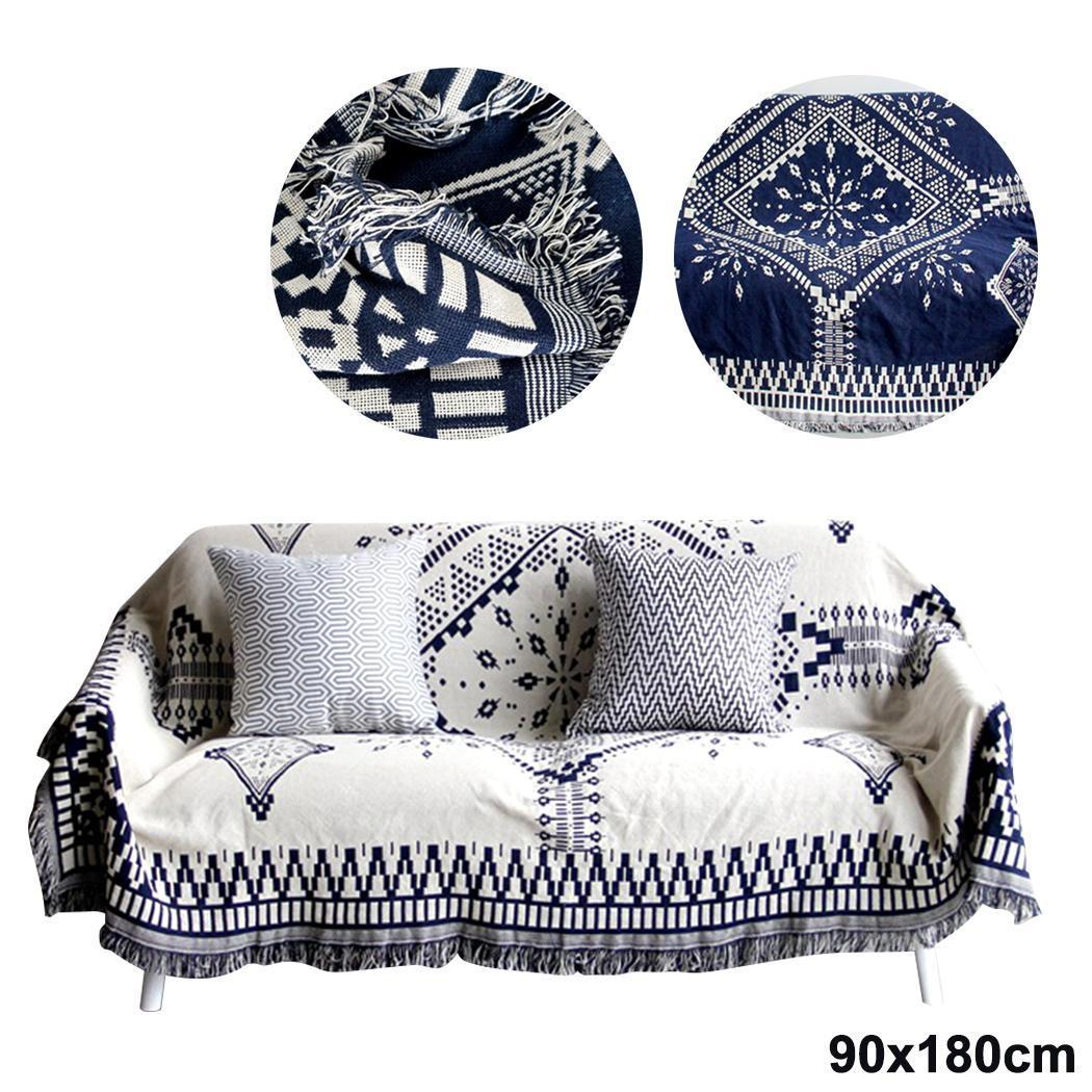 Traditional Style Blanket Cotton Floral Rug Square Black and White Home Sofa Tassel Bed Living Room Carpet