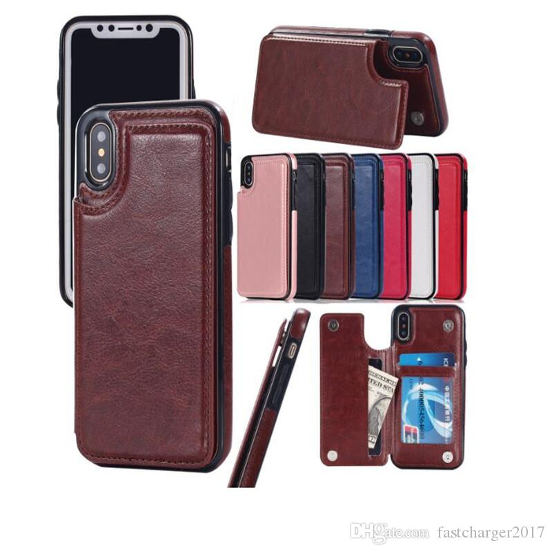 For iPhone Xs Max Xr for samsung S10 Lite 9 8Plus Wallet Case PU Leather Cell Phone Back Case Cover with Credit Card Slots