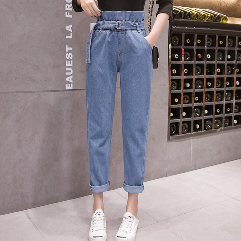 c538af17ba Compre Mulheres Jeans Denim Calças 2019 Primavera Verão Moda Feminina Do  Vintage Solto Casual Elástico Na Cintura Calça Jeans Calças Demin Em Linha  Reta De ...