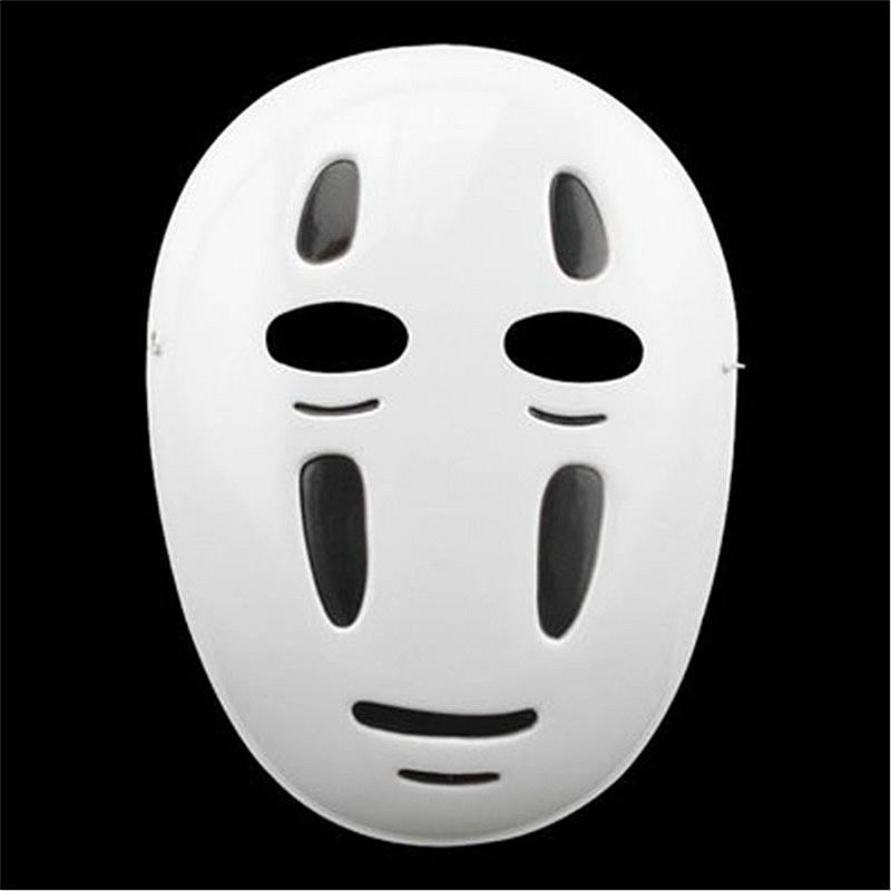 Commerci all'ingrosso 10 pz / lotto Spirited Away Maschera di Halloween cartoon No face maschere da festa maschere Anime giapponesi Nero Viola Puntelli da vento