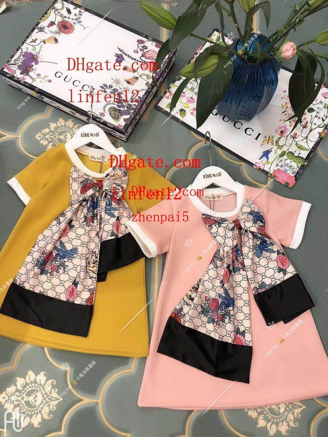 INS style kids dress girls flower printing beach dress cute baby summer Pleated skirt kids clothes vintage Princess dresses ch-ol7