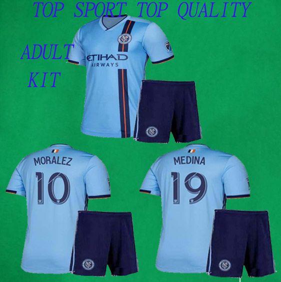 74f4e7670 Compre 2019 NYC Futebol Jersey Shorts 19 20 Nova Iorque Casa DAVID VILLA  PIRLO LAMPARD Kits De Futebol Thai Qualidade Adulto Conjuntos De Futebol  Azul De ...