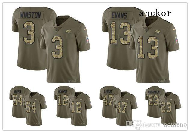 low priced a4c2d 36863 Tampa Bay MEN WOMEN YOUTH 13 Mike Evans 3 Jameis Winston Limited Jersey  Football Buccaneers Olive Camo 2017 Salute to Service