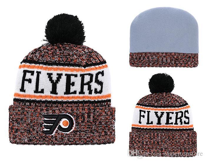 2018 Philadelphia Hockey Knitted Beanies Wholesale Brand Sports Team  Skullies Hats Team Logo Embroidered Winter Caps Sport Beanie Bones Knit Hat  Hats And ... 843b65692ab