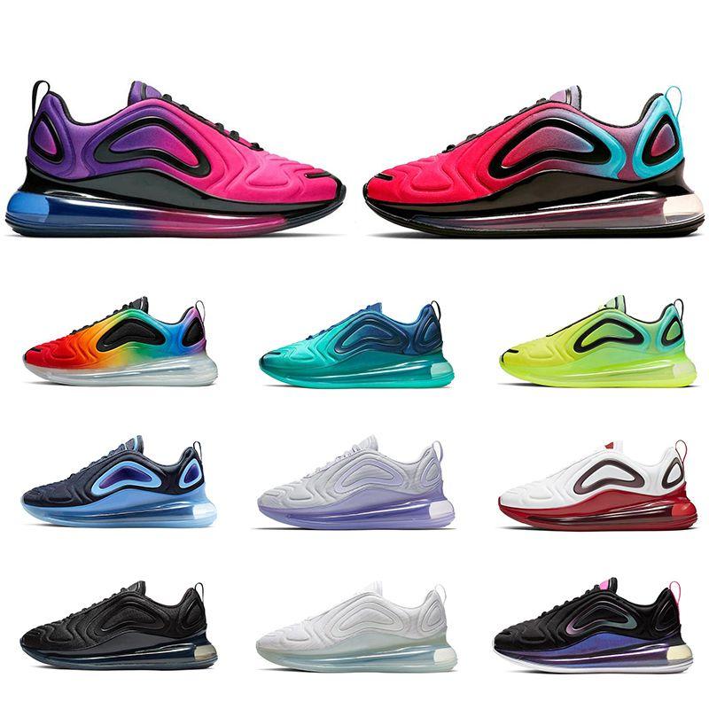 Großhandel Nike Air Max Airmax 720 Neue Schuhe Voll Gepolsterte Männer Frauen Neon Dreifach Schwarz Carbon Grau Sonnenuntergang Metallic Silber