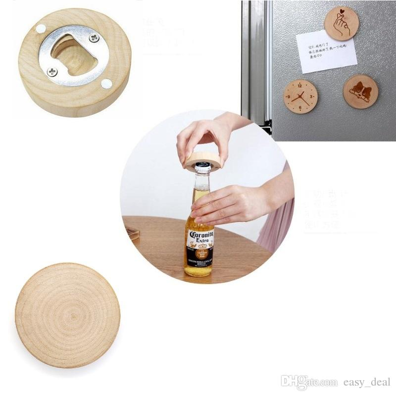 Blank DIY Wooden Round Shape Beer Bottle Opener Coaster Fridge Magnet Decoration Beer Bottle Opener Free Epacket