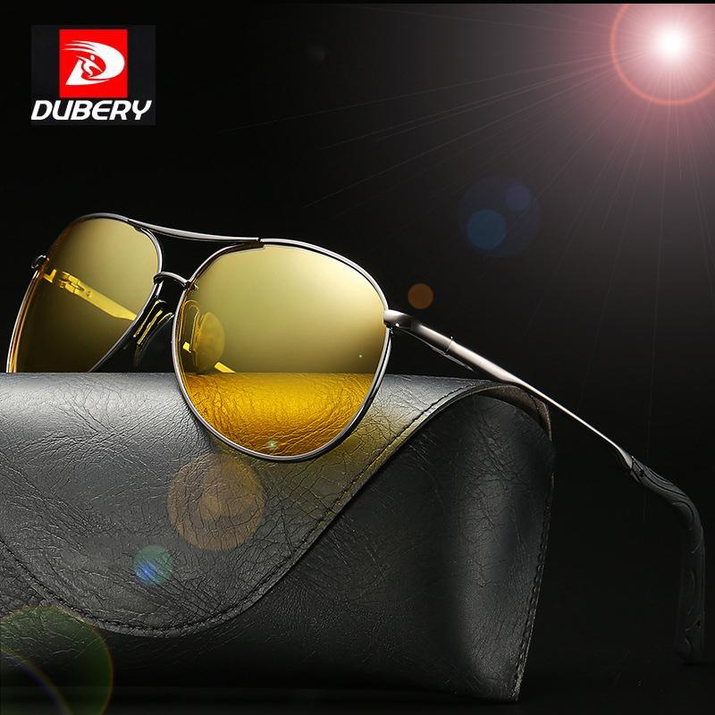 99a9c5573b7 DUBERY Polarized Aviation Driving Sunglasses Men Shades Anti Glare Night  Vision Goggles For Men Yellow Mirror Oculos D8013A Prescription Sunglasses  Glasses ...