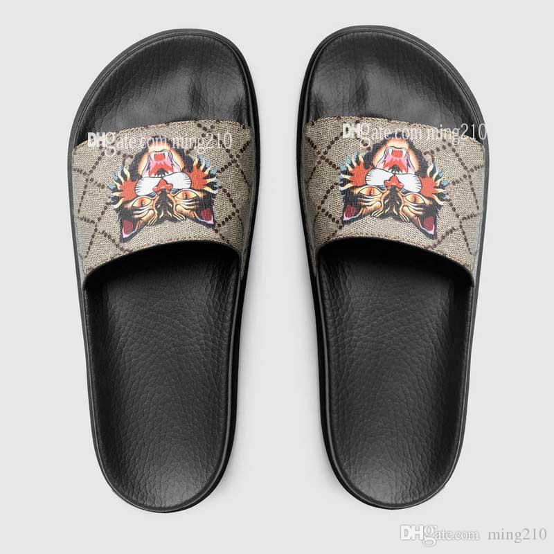 4813774c29016 Acheter Haute Qualité Hommes Femmes Designer Sandales Designer Chaussures  De Luxe Slide Slide Mode Été Large Plat Sandales Glissantes Slipper Flip  Flop De ...