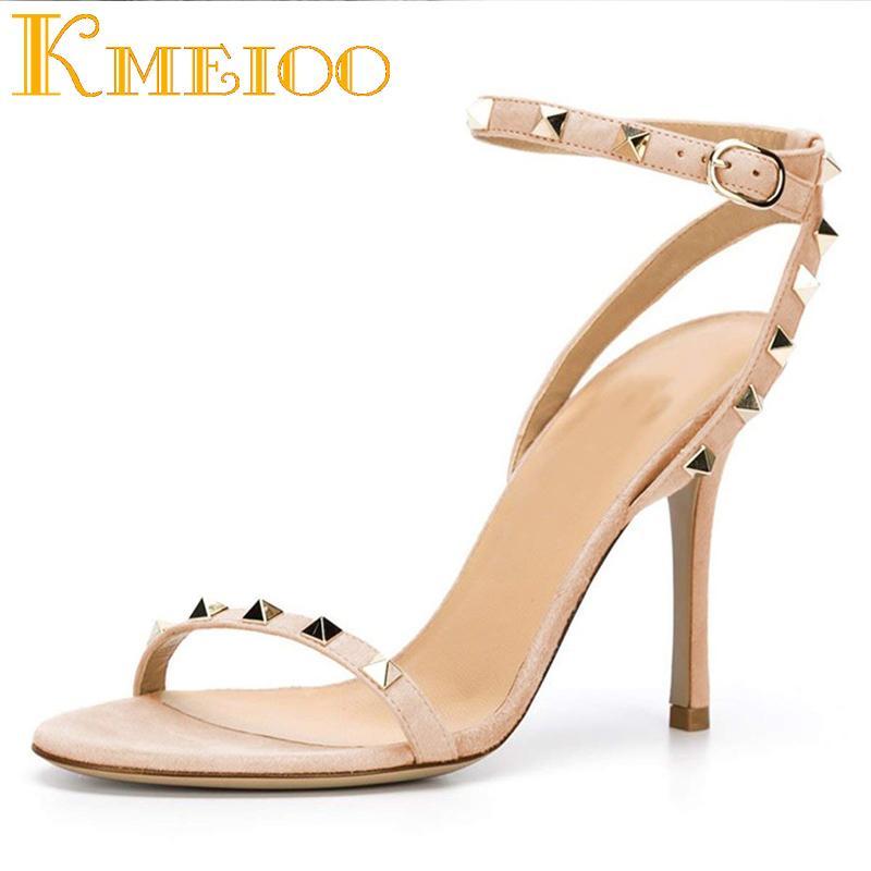 1cc1b7c6d6e Kmeioo 2018 Fashion Buckle Strap Sandals Rivets Pumps Rockstudded High Heel  Sandals Open Toe Woman Shoes Party Ladies Stiletto Silver Sandals Gold  Sandals ...