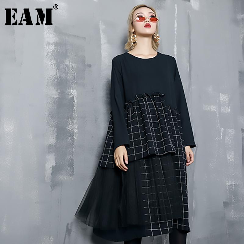 e0a4dd9c251f EAM 2019 New Spring Summer Round Neck Long Sleeve Black Hem Plaid Printed  Mesh Stitch Loose Dress Women Fashion Tide JO290 Sundresses Shift Dress  From ...