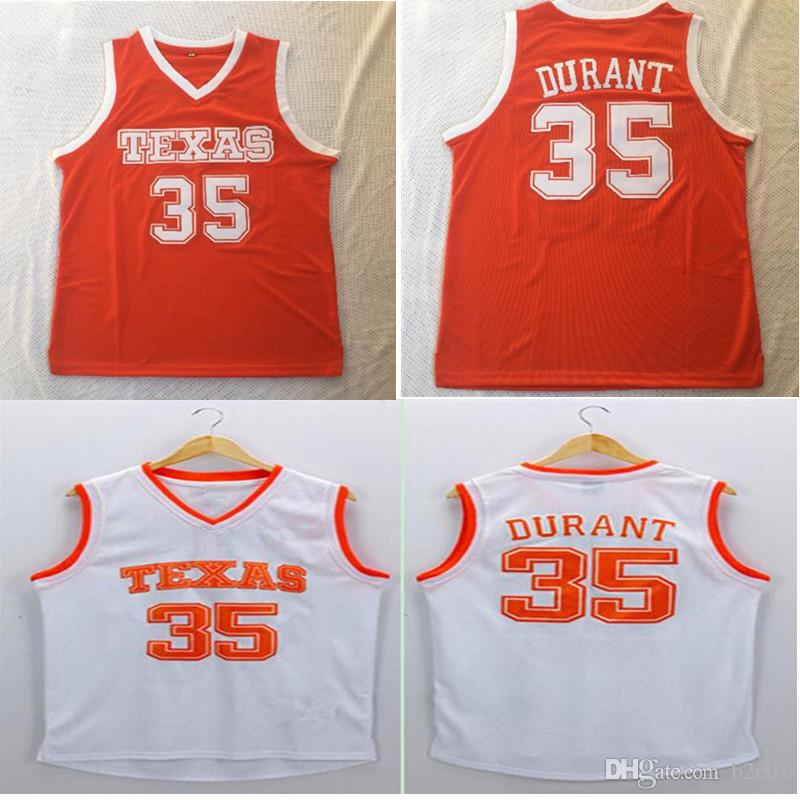 brand new 764c7 18a7b Men's NCAA 35 Durant Texas Orange white College Basketball Jersey
