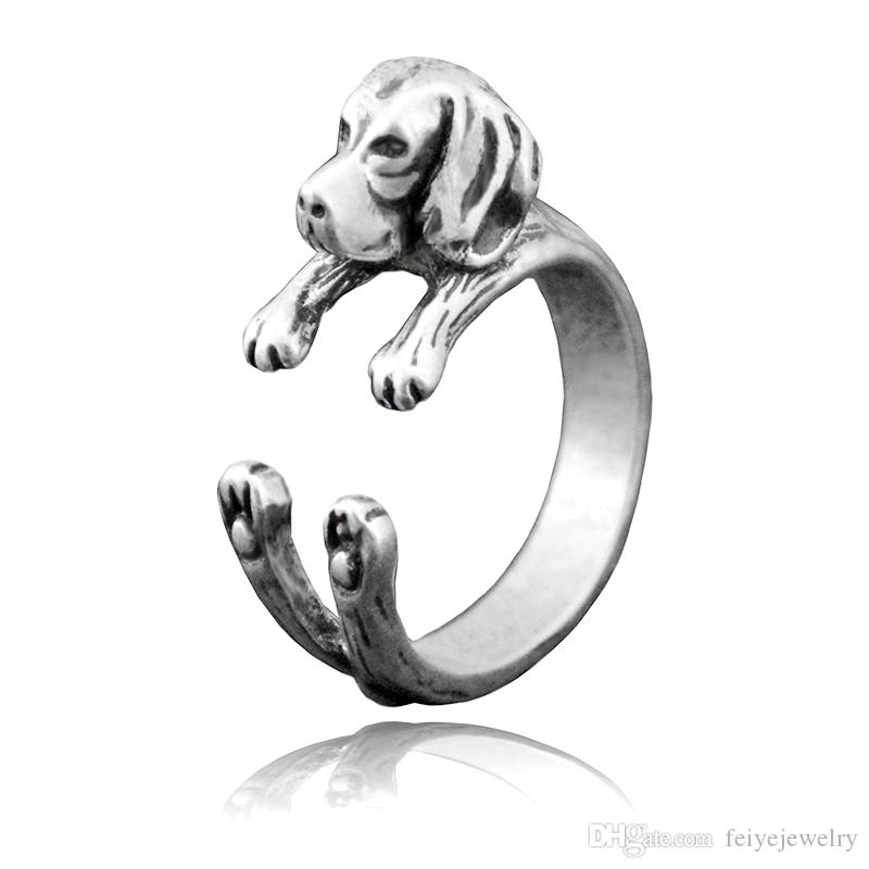 New Fashion Boho Chic Vintage silver Beagle Puppy Dog Wrap Rings For Women Anel Cute Retro Dog Animal Couple Ring Man Pet Friends Lover Ring