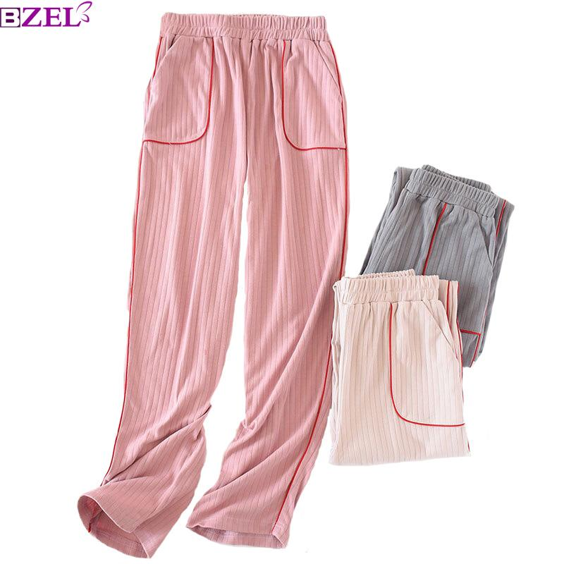 2019 2019 Spring And Autumn New Ladies Cotton Knit Sleep Pants Solid Color  Trousers Comfort Sleep Bottom Women Loose Household Wear From Paluo 9f8659d33