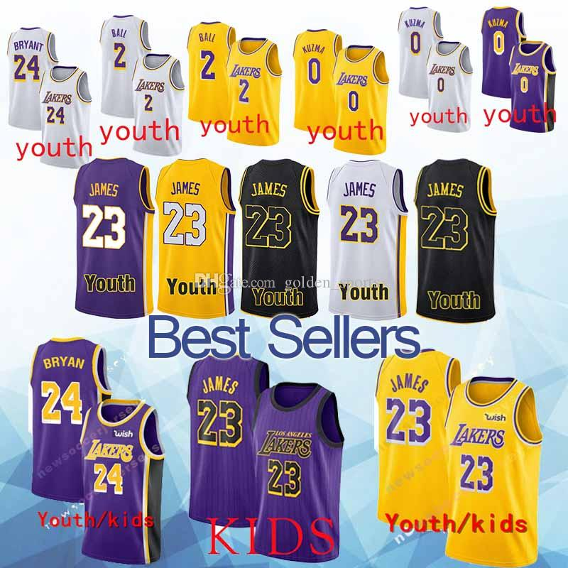 dd733bc168f Kid New2019 Lakers Adult Jersey 23 LeBron James 2 Lonzo Ball 0 Kyle ...