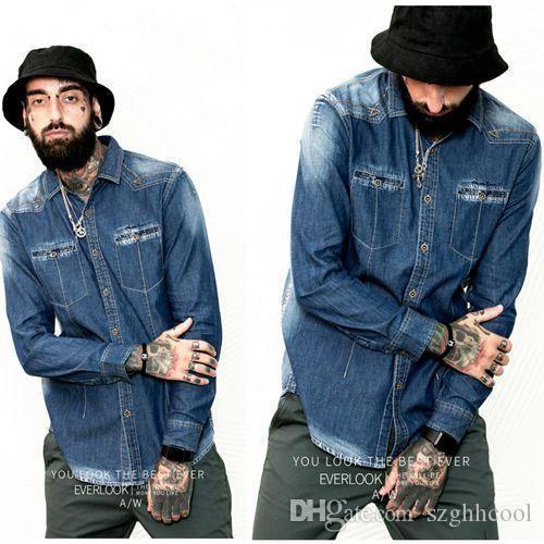 51667dd24dc WholeTide весна новый стиль мужской стиль с длинными рукавами джинсовая  рубашка мужская самосовершенствование повседневная одежда Рубашки  повседневная и ...