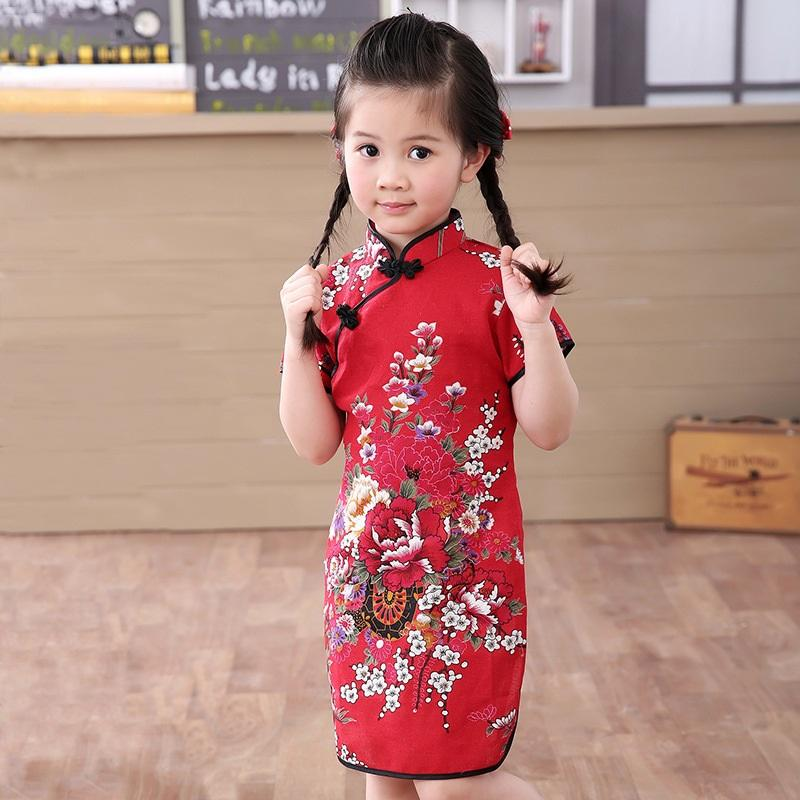 b02dd344040a9 2019 baby girl Chinese dress clothes summer style infantis cotton&L  Traditional dresses red new year party