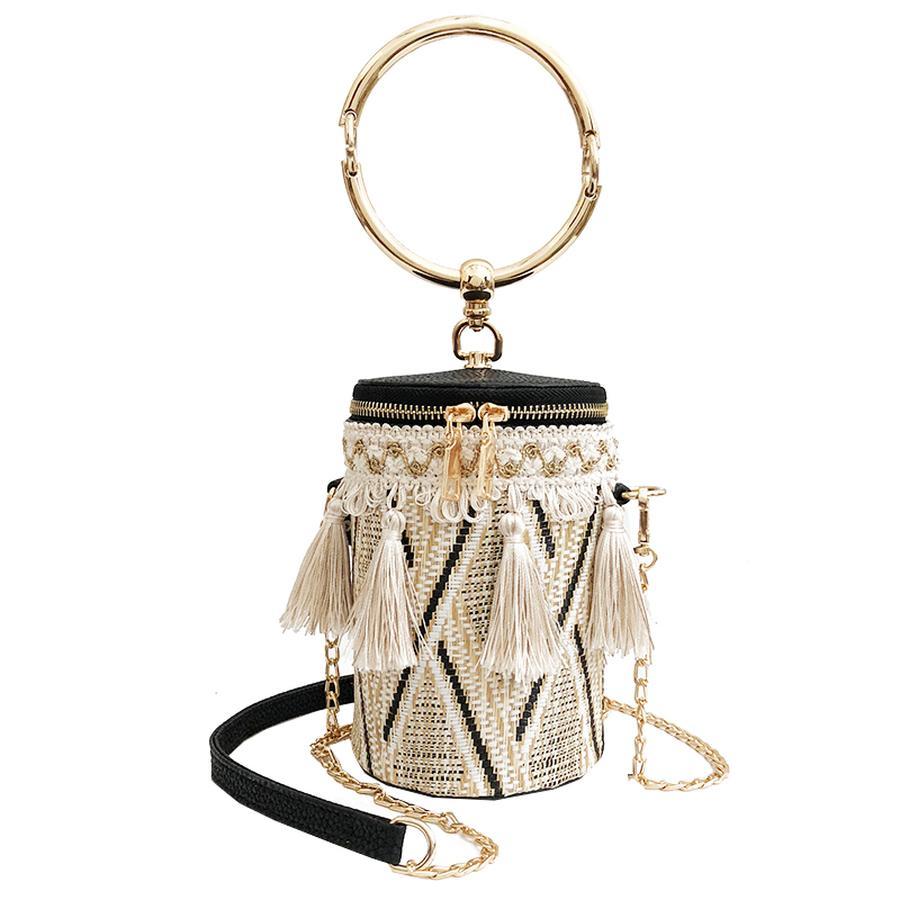 Trendy Straw Pu Leather Fringe Round Handbag Women Cylinders Ladies Casual  Tote Mini Messenger Bag Crossbody Bolsa For Women New Handbags Brands Hobo  ...