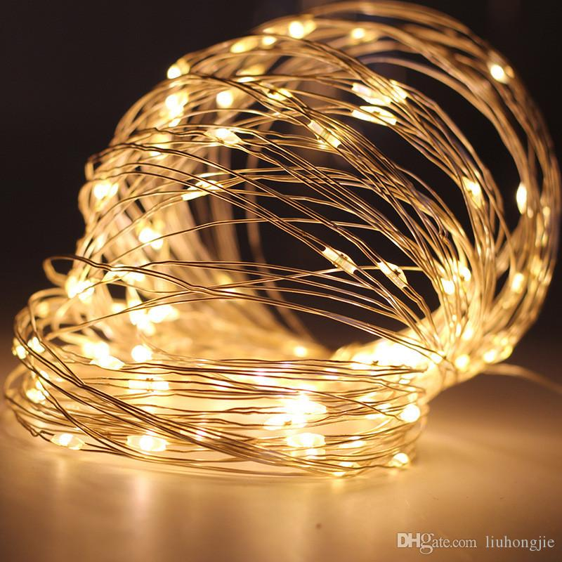 10m 100 Led Battery Operated String Light Waterproof Led Copper Wire String Outdoor Fairy Lights For Romantic Love Holiday Wedding