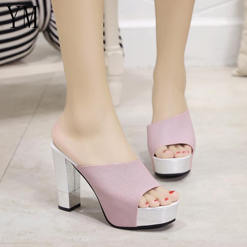 cf7a9d6cc813 Dress Shoes Fashion Summer Women Elegant Pink High Heel Sandals Peep Toe  Platform Sexy Crystal Chunky Heel Lady Thick Heel 34 39 Wedges Shoes White  Shoes ...