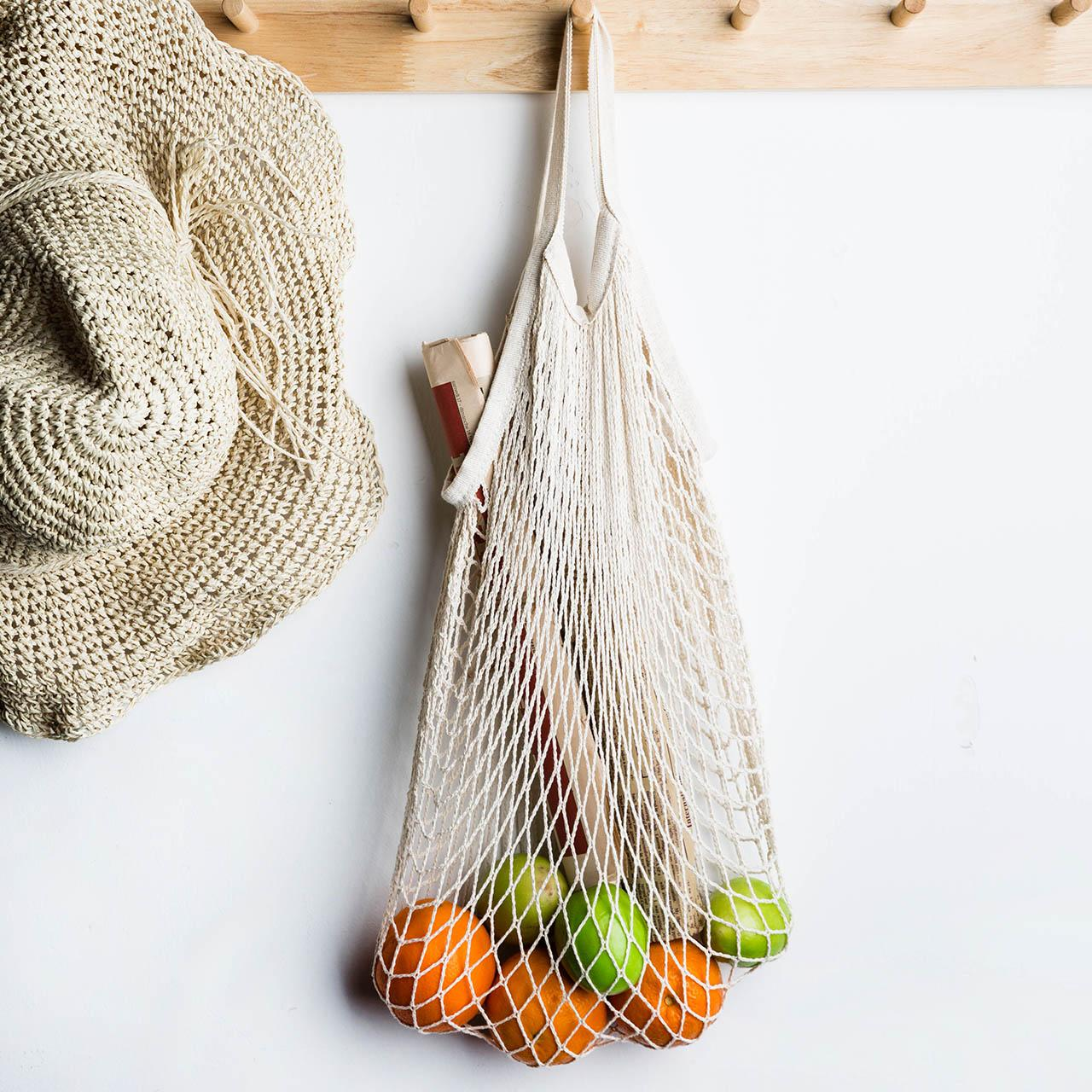 Resuable Fruit Vegetable Shopping Bag String Shopper Cotton Hand Totes Mesh Woven Net Hanging Storage Bag Kitchen Organizer Tool