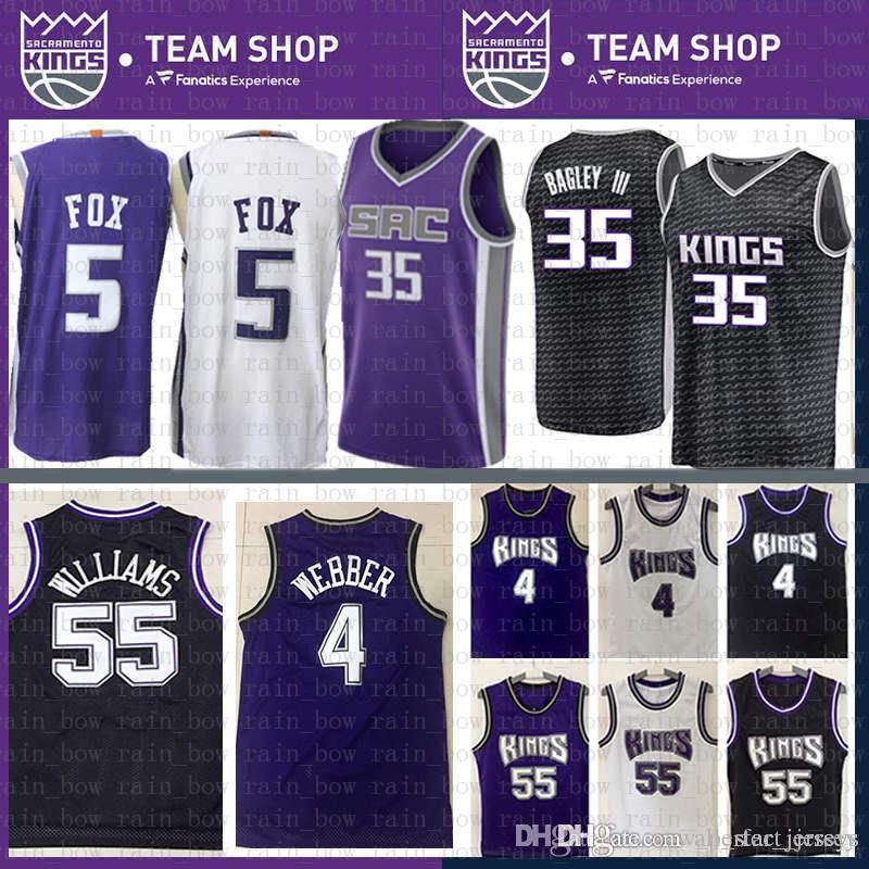 the latest a7a5b 92413 Purple Chris 4 Webber Jason 55 Williams Sacramento Jersey 2019 New DeAaron  5 Fox Marvin 35 Bagley III Basketball Jerseys Mesh Retro