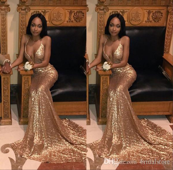 Bling Gold Sequined Mermaid Prom Dresses For Black Girls Plugging Neckline Long Party Evening Dresses Cheap Plus Size formal dress 2019