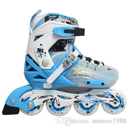 Roller Skates Adjustable Four Wheels Outdoor Inline Skating Shoes For Kids  different size for children from 3-11 years old