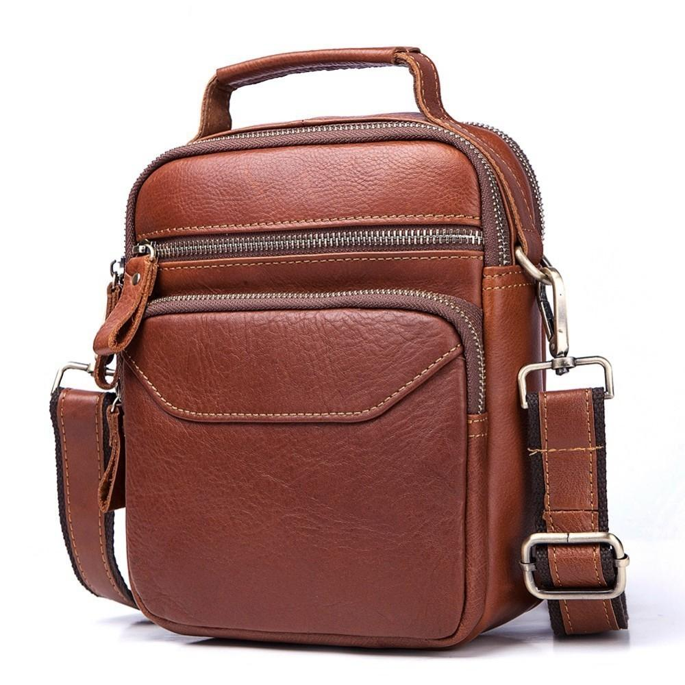 High Quality Genuine Leather Men Shoulder Bag High Quality Crossbody Bags  For Male Messenger Bag Ipad Bolsas Phone Pocket Mens Leather Satchel Filson  ... 13dd7bb67965f
