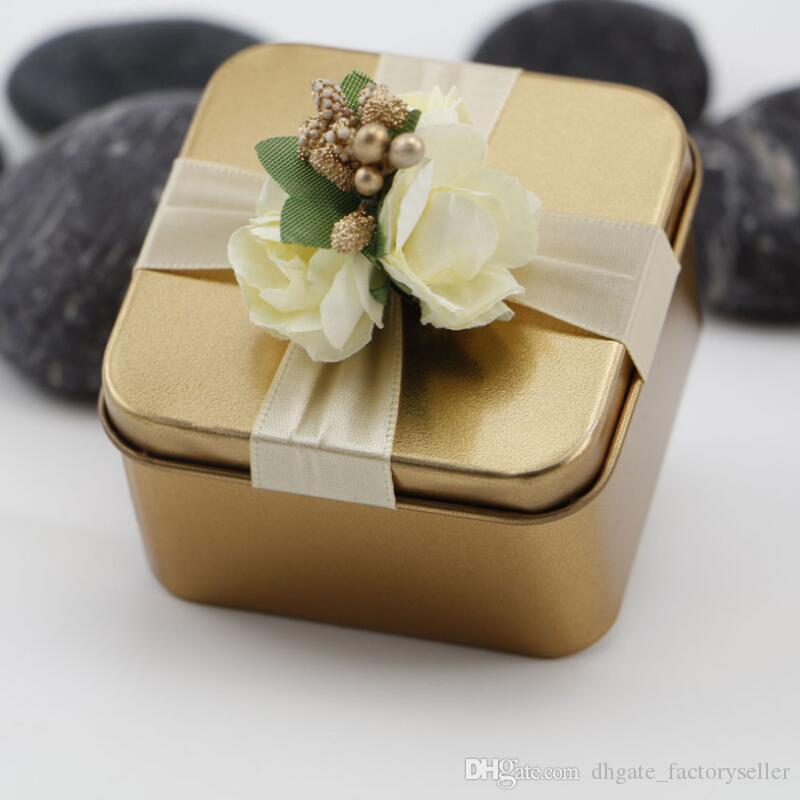 New Metal Candy Boxes Square with Flowers Tiffany Wedding Beautiful Favor Box Gift Box wedding Supplies Favors LX8137