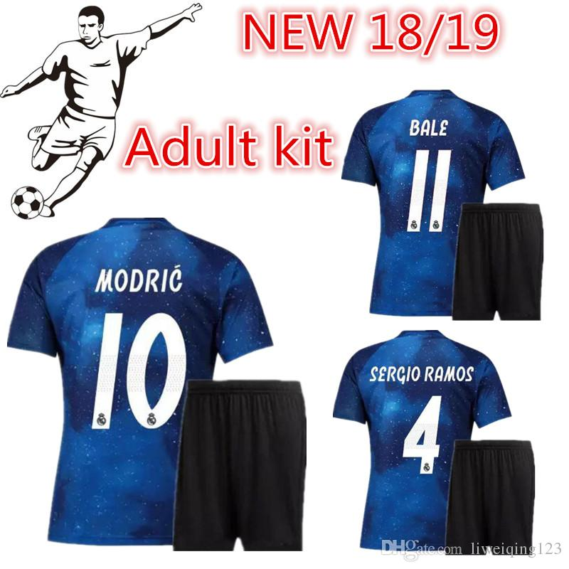 2019 New 2018 2019 Real Madrid Adult Kit Soccer Jersey EA Sports 18 19  MODRIC ISCO RAMOS Asensio Kroos Football Shirt Champions League Uniform From  ... f356e8f30