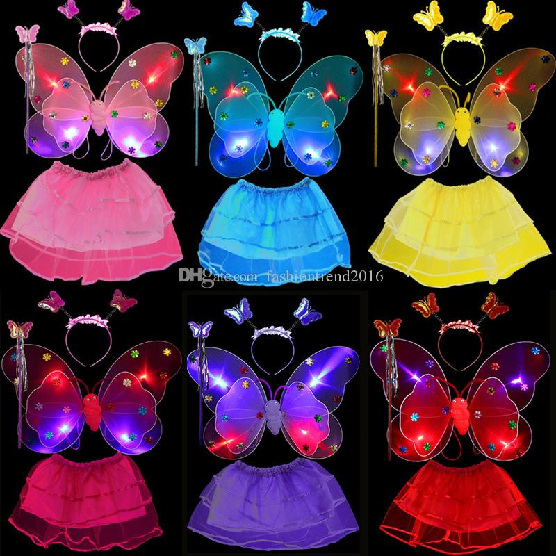 4pcs/set LED Flash Fairy Princess Kids Girls Costume for Halloween Party Butterfly Wings Wand Headband Tutu Skirt Children Stage Wear