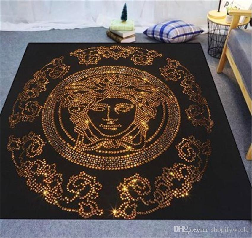 New Gold Printing Letter Carpet Fashion Stripe Design High Quality Rubber Carpet For Men And Women