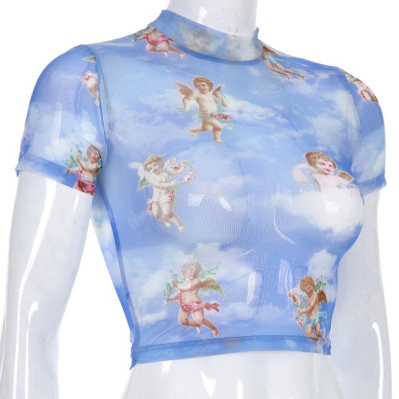 2dfa35efce Acheter Ange Imprimé Demi Haut Col Tshirt Femmes Mode Rosée Navel T Shirt À Manches  Courtes Manche Courte Mince Chemisier Demi Chemise De $39.12 Du Nihuyg ...
