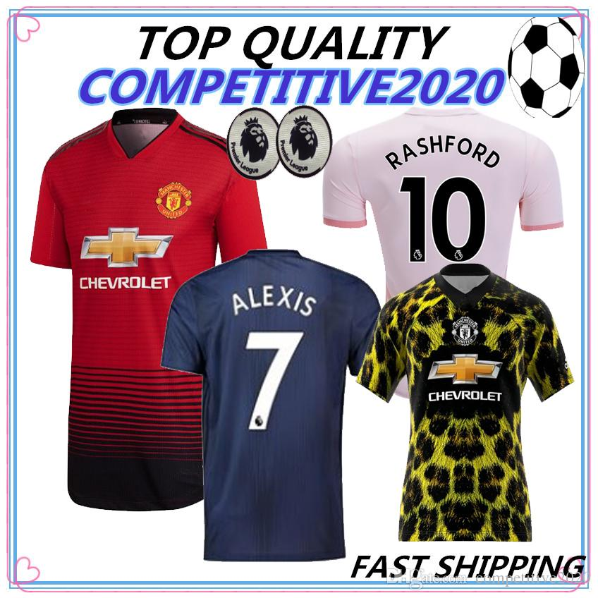 online retailer a61c6 d4c25 18 19 top quality FC Manchester United Soccer Jersey 2018 2019 Man Jersey  UTD POGBA LUKAKU RASHFORD ALEXIS Football Shirt Kit adult Uniform