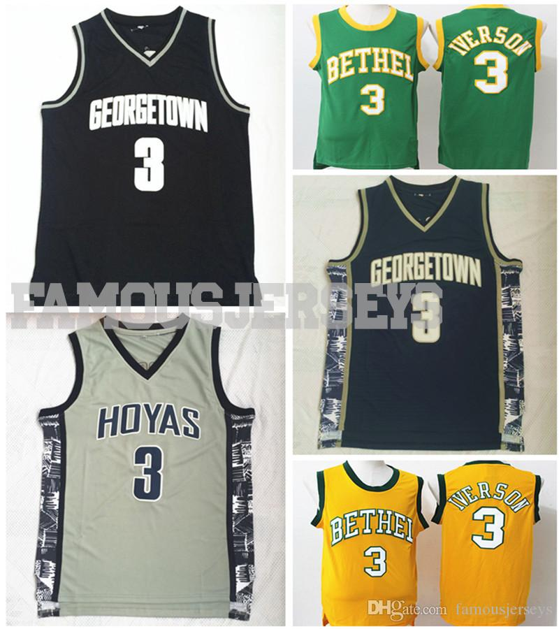 finest selection bede0 ff27b New Georgetown College Basketball Throwback Jerseys Hoyas player Allen  Iverson #3 jersey Bethel high school classic/retro/sixer uniform