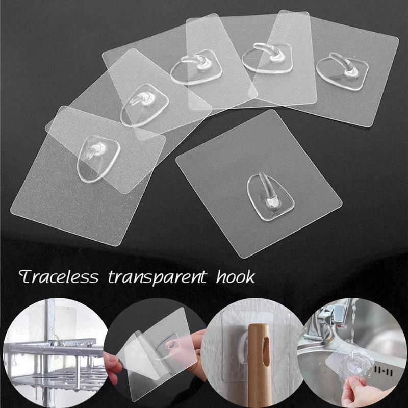 10Pcs Transparent Strong Self Adhesive Door Wall Hangers Hooks For Silicone Storage Hanging Wall Sucker Kitchen Magic Bathroom Accessories