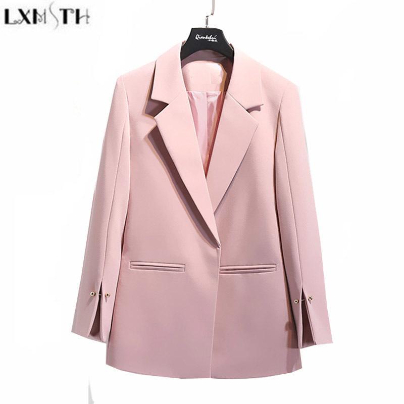 Compre LXMSTH 2018 Primavera Otoño Traje Chaqueta Mujeres Blanco Negro Rosa  Coreano Elegante Sólido Suelta Casual Blazer Jacket Womens Formal Coat  Y18101701 ... 1a26c96d65c