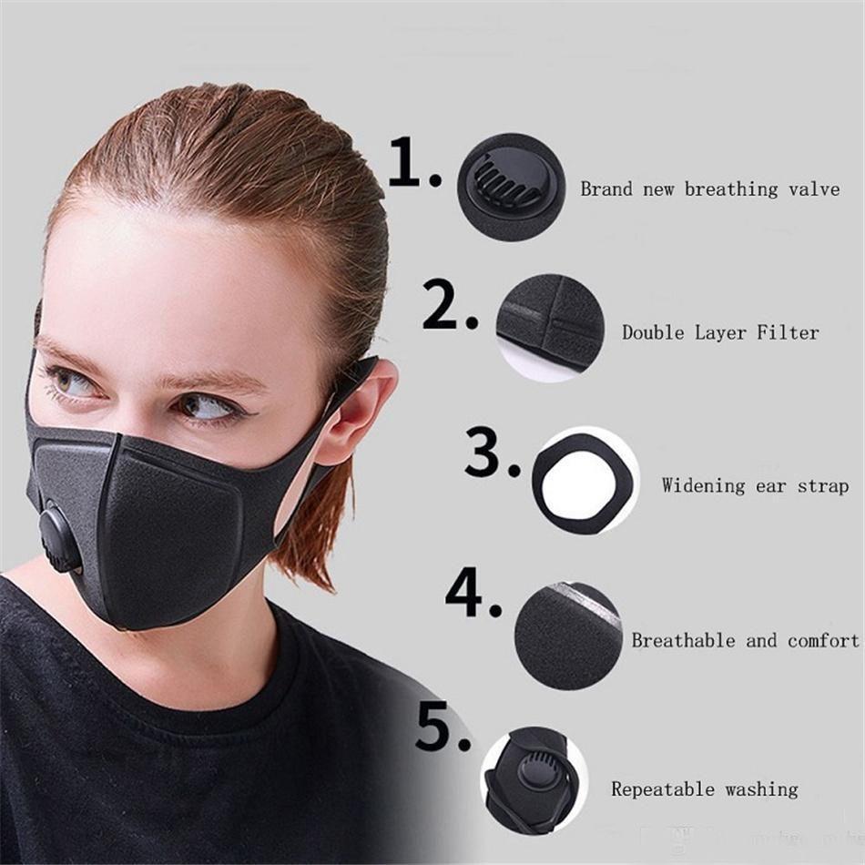 Máscara Negro anti del polvo de cara con válvula de PM 2,5 respiración filtros protectores boca de algodón máscaras respiratorias reutilizable lavable paquete individual