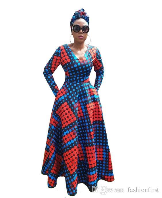 a59d9d24e Compre Vestidos Para Mujer Moda 2018 Otoño Vestido Delgado Impreso Mangas  Largas Rojo Azul Lunares Elegante Party Girl Un Vestido De Línea A  25.13  Del ...