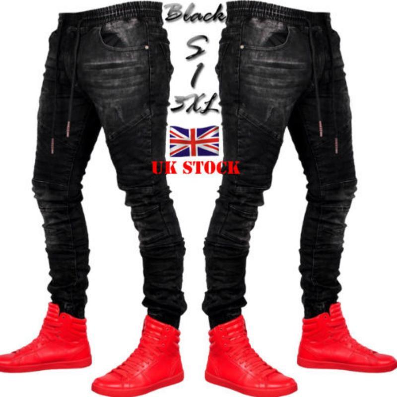 57c49c7de 2019 hombres con estilo pantalones vaqueros rasgados Biker Skinny Slim  Straight Frayed Denim Pantalones Nueva moda jeans ajustados hombres Ropa