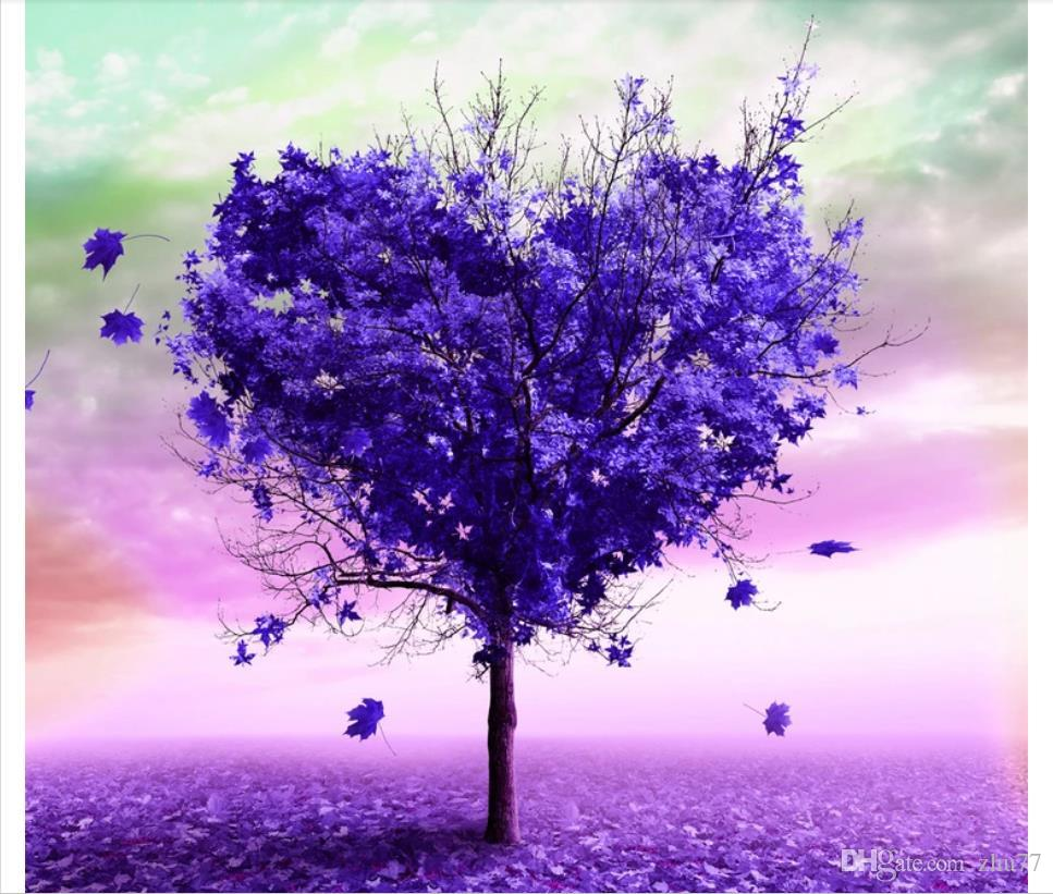 Custom 3d photo mural wallpaper home decor Purple heart shaped tree empty wilderness TV sofa background wall papel de parede