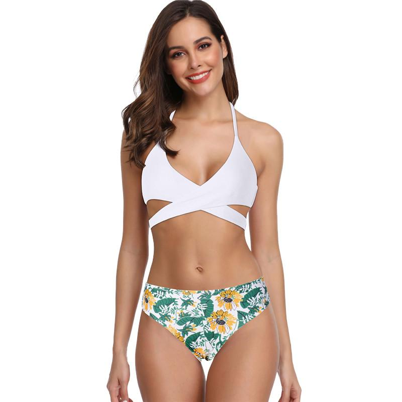 Bikinis Set Sports & Entertainment Latest Collection Of Women Sexy Boho Print Solid Swimwear Bikini Beachwear Siamese Swimsuit Set New Sexy Off The Shoulder Solid Swimwear Women