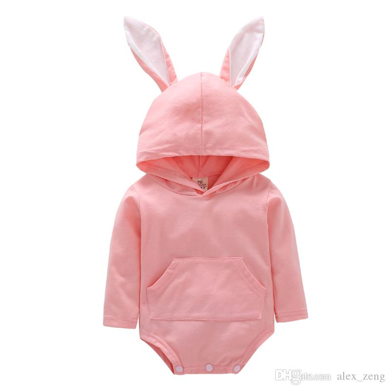 Baby Hoodie Romper Girls Boys Easter Day Romper Jumpsuit Hooded Outfits 2019 New Cute Rabbit Ears Infant Long Sleeve Cartoon Clothing