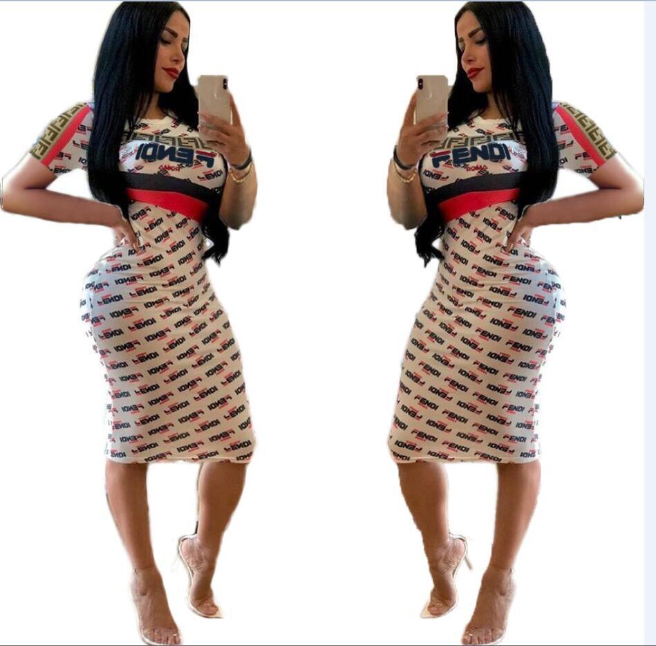 0e55f40424f3c9 Vestido 2019 europa e américa roupas femininas de corpo inteiro carta  impressão dress moda sexy slim fit mid saia novo estilo atacado