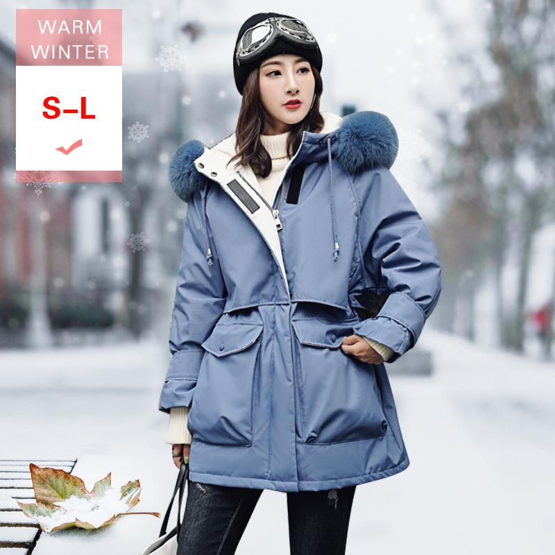 S-l New Inverno real Fox Fur Branco Duck Down Jacket Grosso Casual Brasão Magro Feather Quente Feminino Zipper Windproof Outwear com capuz