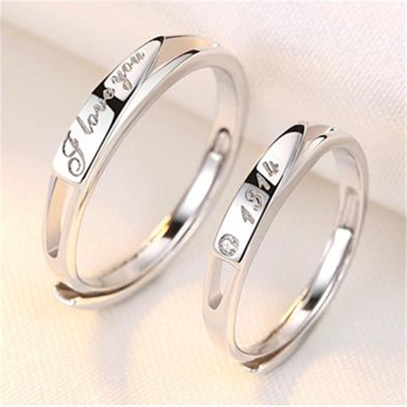1fe37d75f6 2019 Couple Finger Ring Set Opening Adjustable Men And Women Fashion 925  Sterling Silver Platinum Ring Anniversary Party Gift Jewelry From Zoe2013,  ...