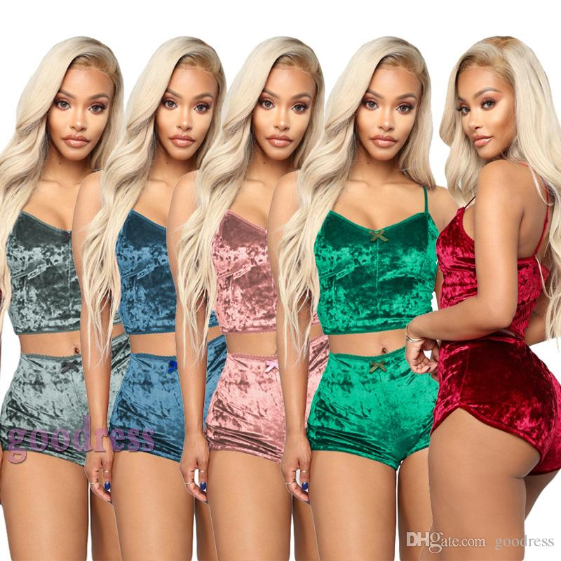 Women Sexy Velvet Two Piece Outfits V Neck Spaghetti Straps Crop Top + Shorts Tracksuit Night Club Party Suit clothes Summer Bodycon Pajamas