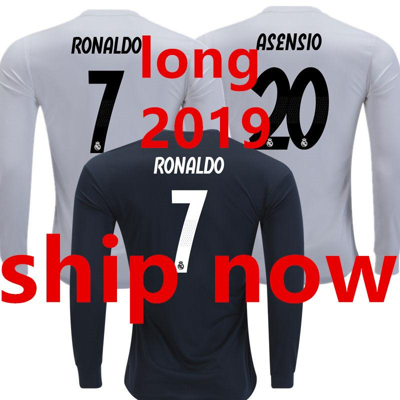 f2545d88d5f 2019 Soccer Jersey Real Madrid Long Sleeve Full 2019 2018 Home White Away  Black 18 19 Camisetas De Futbol Camisa Maillot Champions Football Shirt  From ...