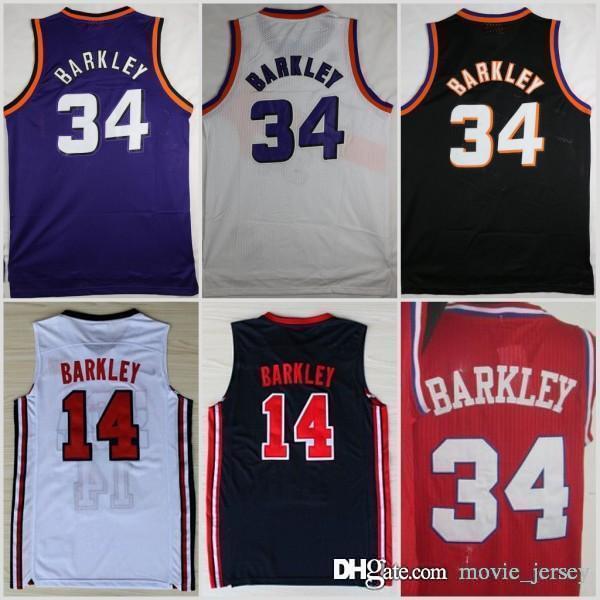 b0b78f1b9dd3 2019 1992 HOT Dream Team One 14 Charles Barkley Phoenix Jersey SUNS Fashion   34 Shirts Uniforms Red Black Purple White Navy Blue From Movie jersey